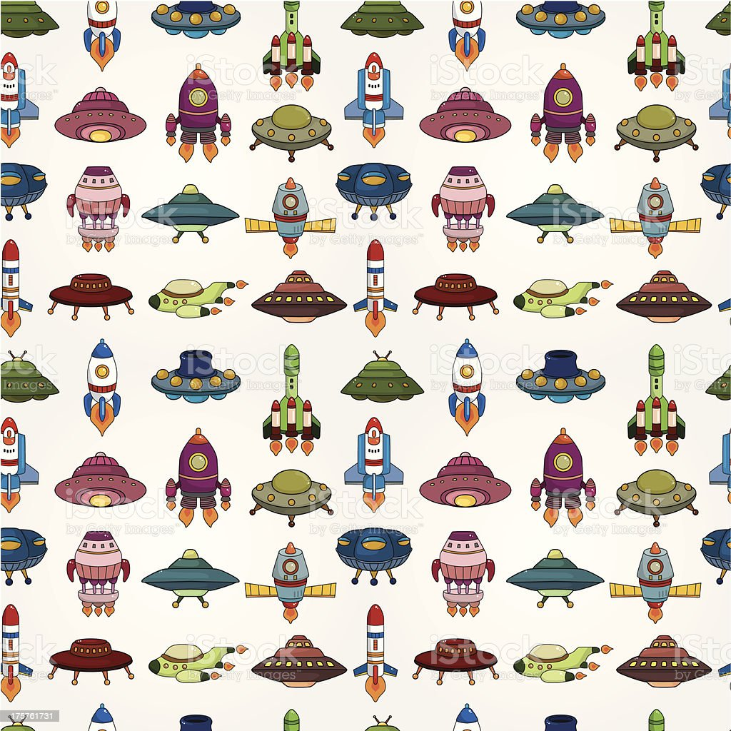 seamless UFO Rocket pattern royalty-free stock vector art