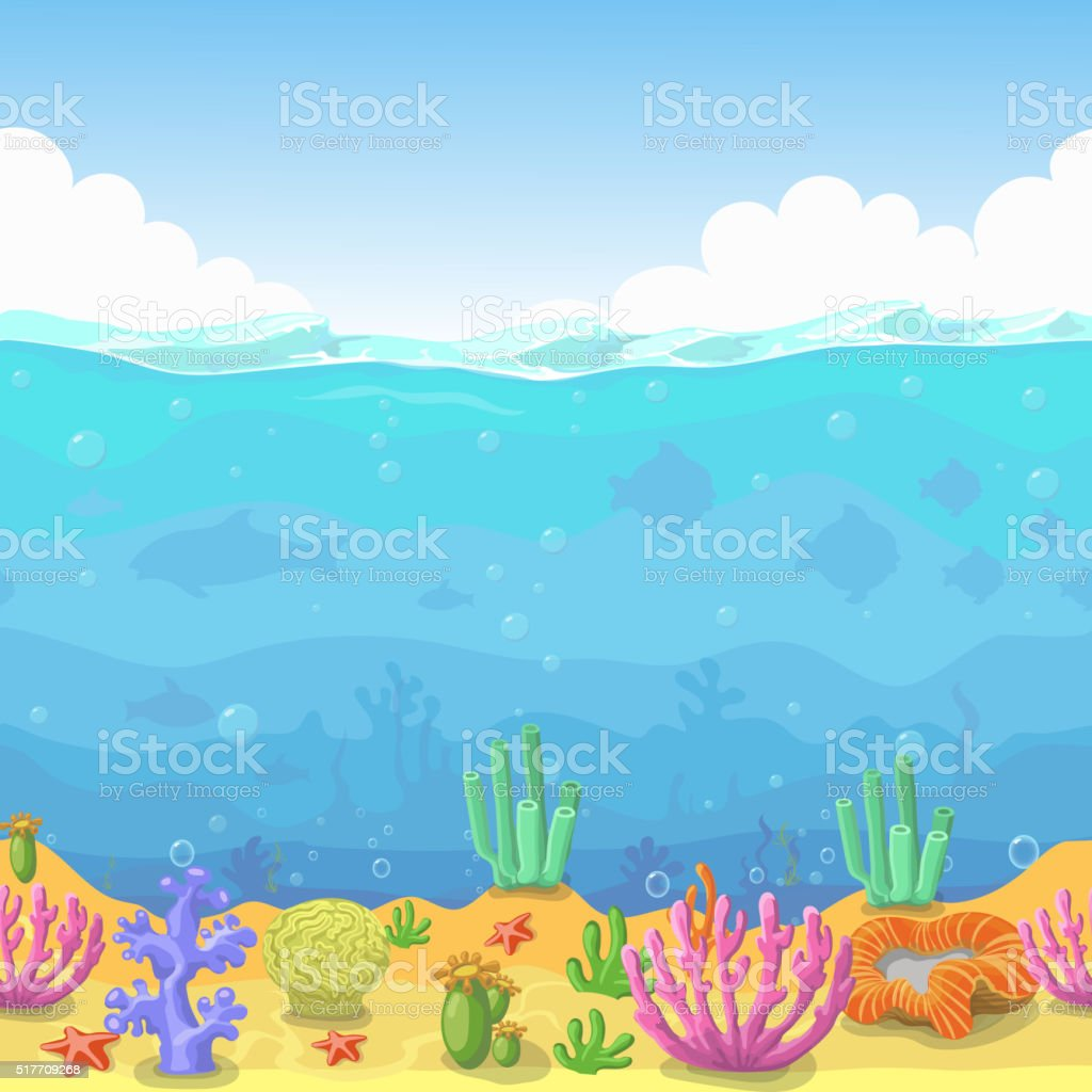 Seamless underwater landscape in cartoon style. fish and coral. Vector vector art illustration