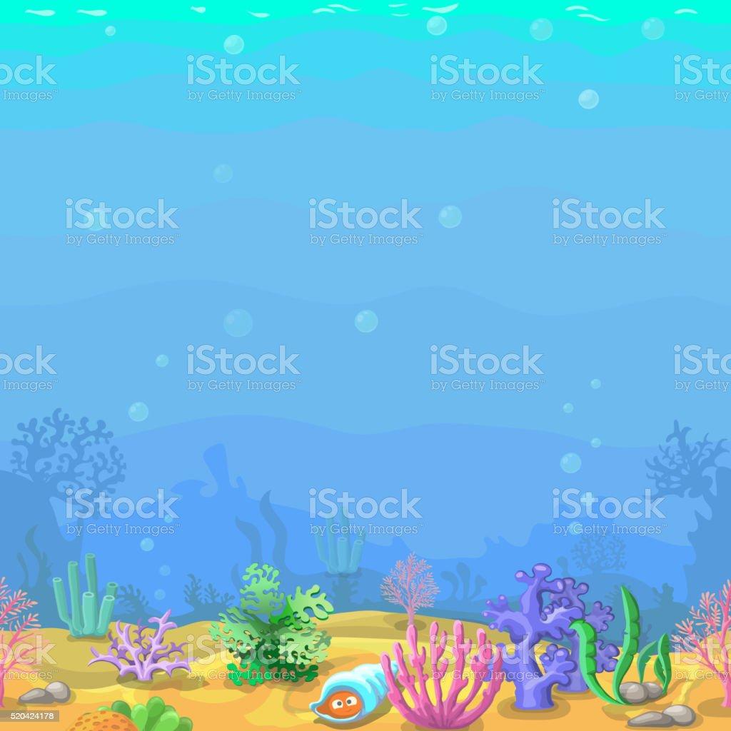 Seamless underwater landscape in cartoon style. vector art illustration