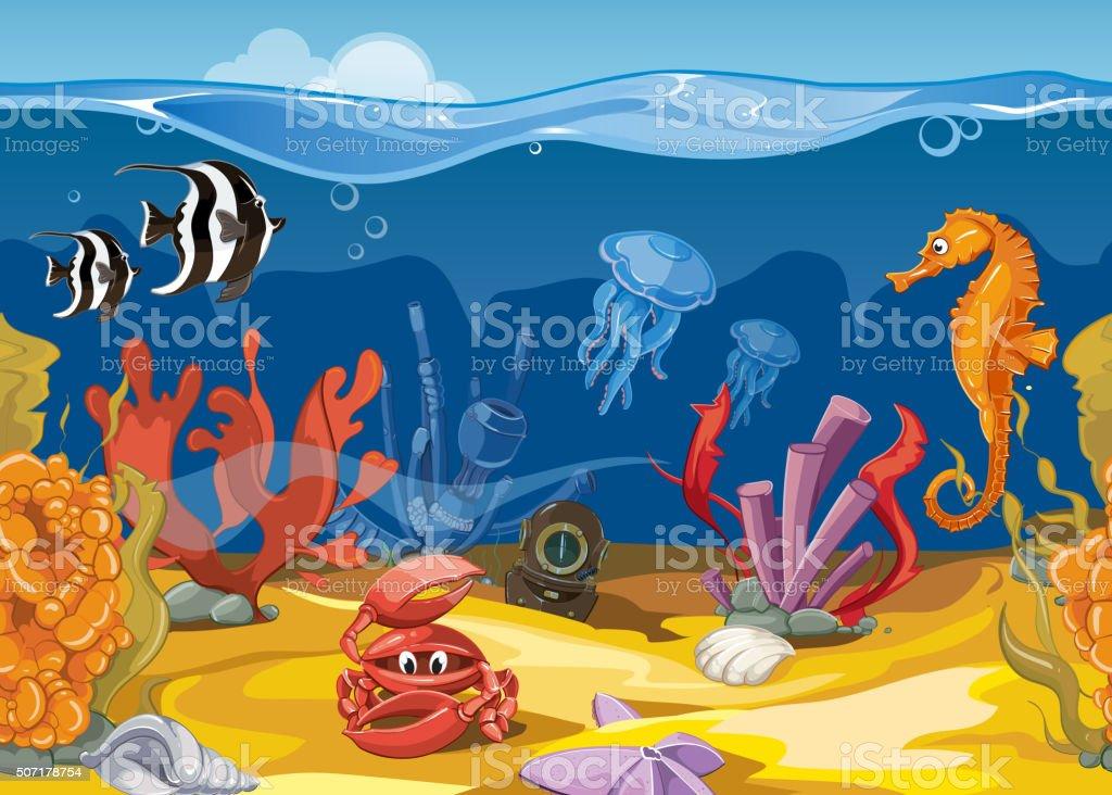 Seamless underwater landscape in cartoon style. Vector illustration vector art illustration