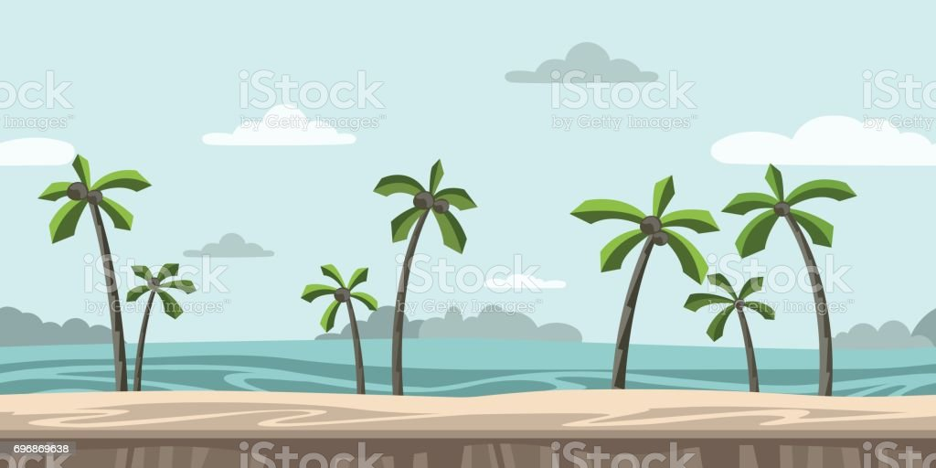 Seamless unending background for arcade game. Sandy beach with palm trees and clouds in the blue sky. Vector illustration. vector art illustration