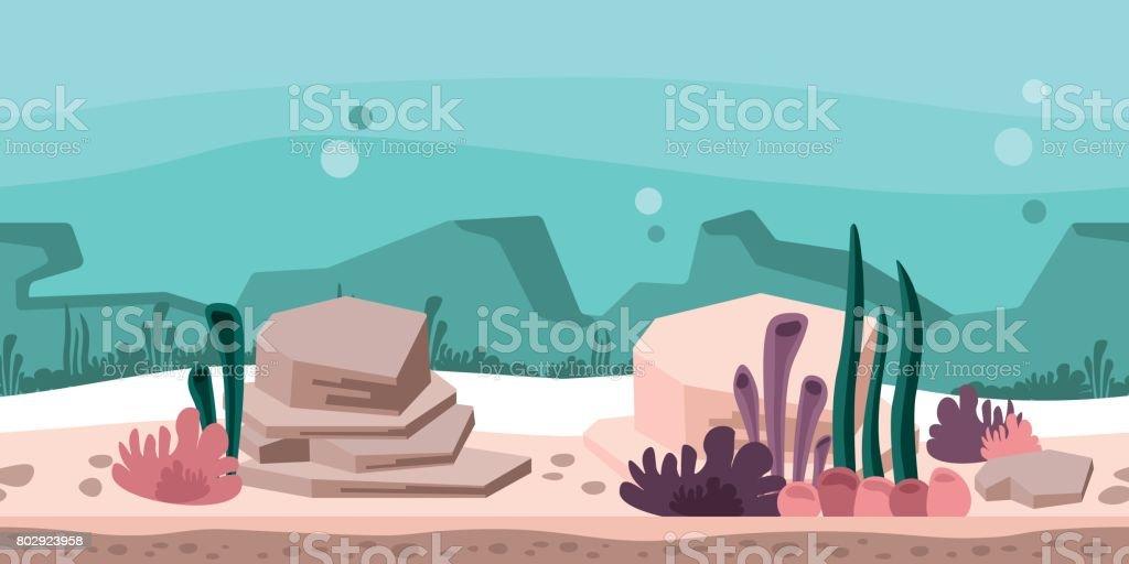 게임이 나 애니메이션에 대 한 원활한 끝 없는 배경. 바위와 해 초, 산호 수 중 세계입니다. 벡터 그림, 시차 준비입니다. 벡터 아트 일러스트