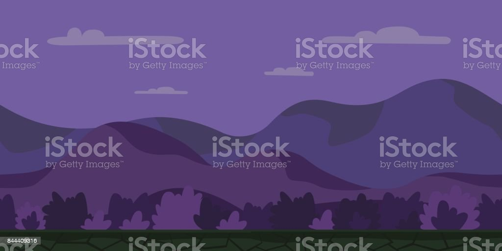Seamless unending cartoon background for arcade game. Night hilly landscape with bushes. Vector illustration. vector art illustration