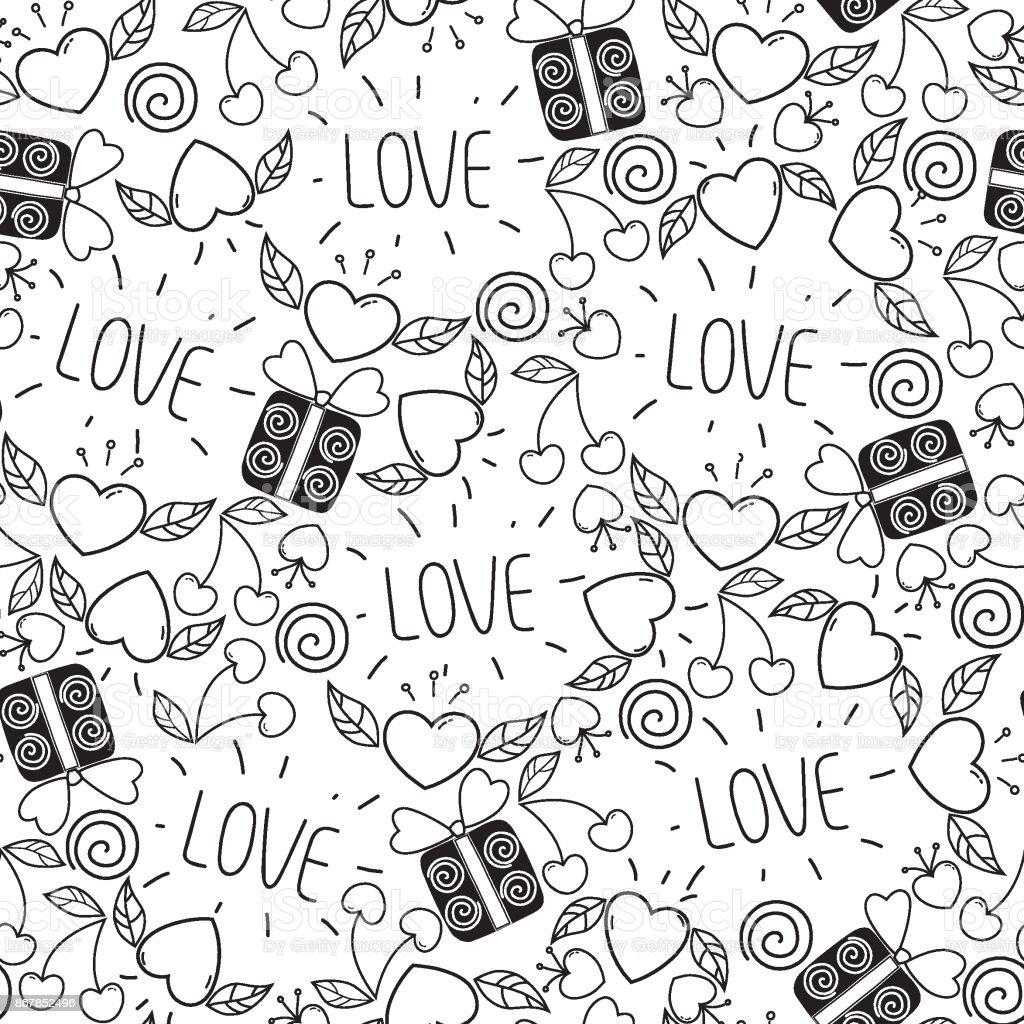 Valentinstagmusterdesign Doodlestil Vektorhintergrund Mit Herzen ...