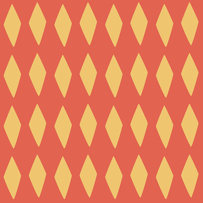 Seamless Vector Argyle Pattern. Yellow diamonds on a red background. Stylish modern geometric textures. Vector abstract backgrounds