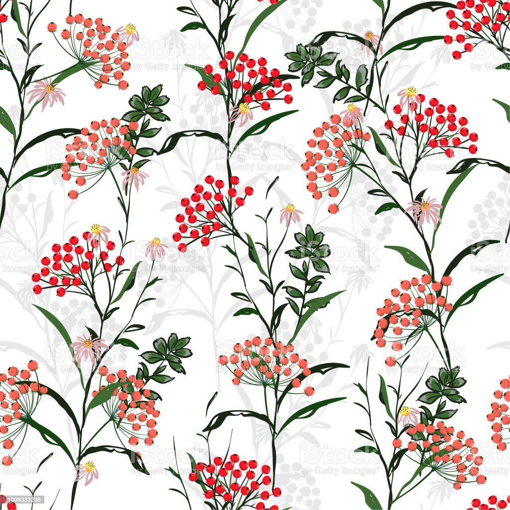 Seamless Vector Autumn Pattern With Red And Orange Berries And