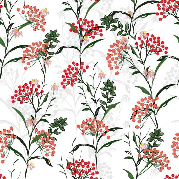 Seamless vector autumn pattern with red and orange berries and leaves. Fall colorful floral background.pattern for fashion,fabric and all prints vector art illustration