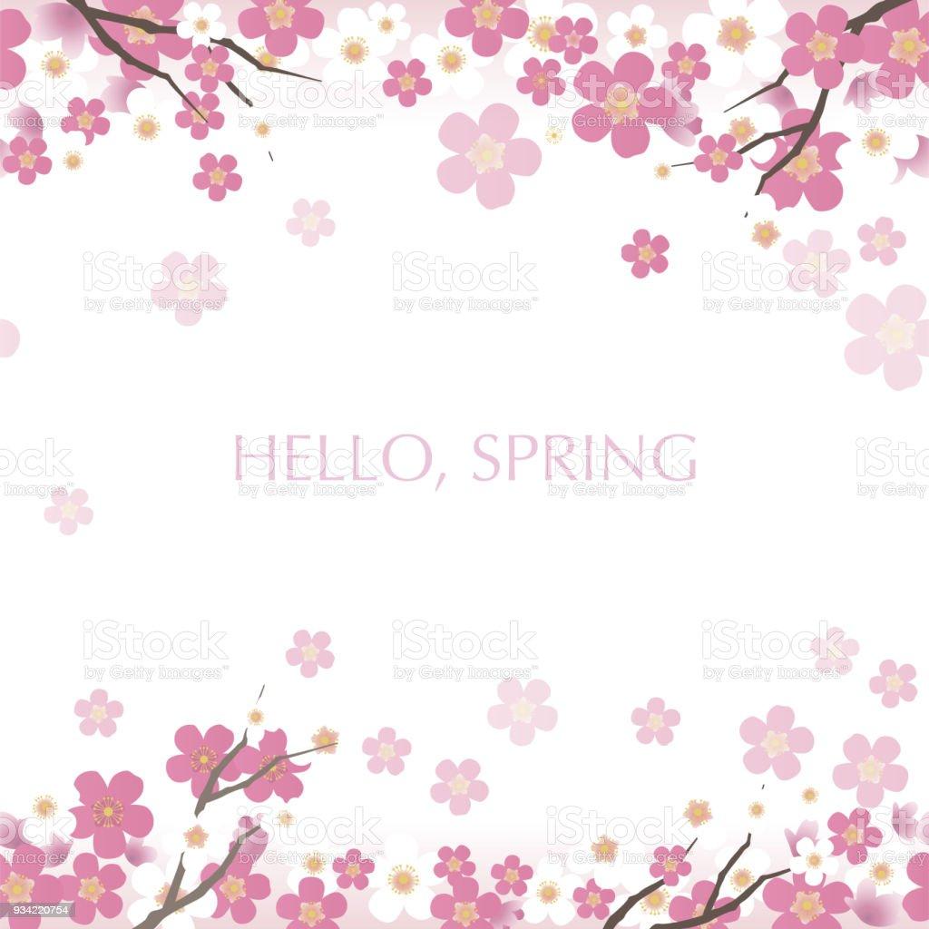 満開の桜とシームレスなベクトル背景イラスト - つながりのベクター