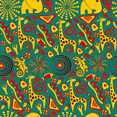 Seamless vector background with African elements and cute animals