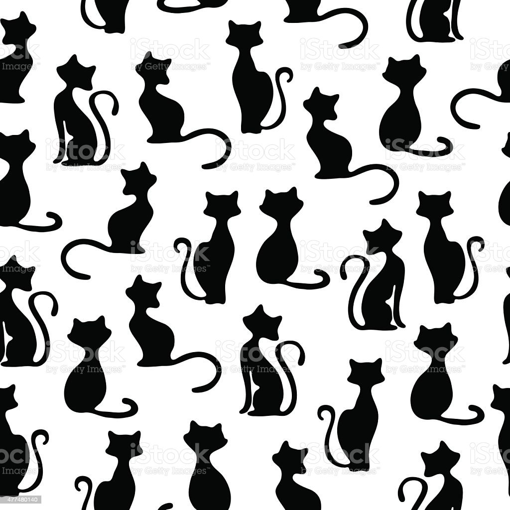 Seamless vector background with cats. vector art illustration