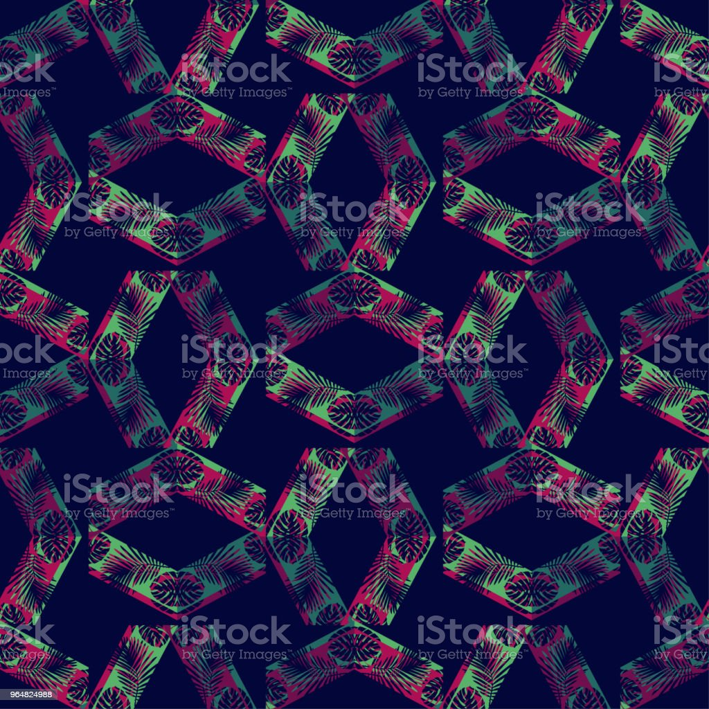 Seamless vector background with decorative leaves. Halftone. The texture of rhombus. Texture of palm leaves. Textile rapport. royalty-free seamless vector background with decorative leaves halftone the texture of rhombus texture of palm leaves textile rapport stock illustration - download image now