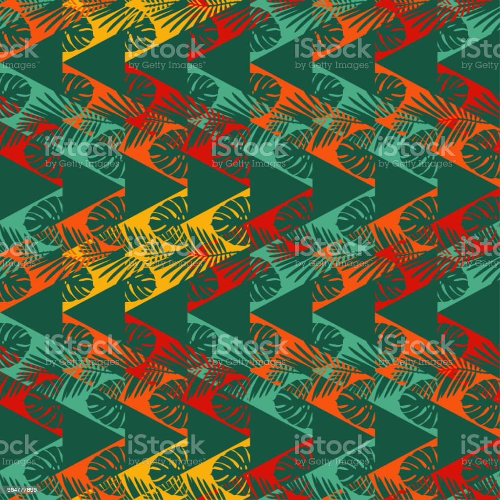 Seamless vector background with decorative leaves. The texture of the zigzag. Texture of palm leaves. Textile rapport. royalty-free seamless vector background with decorative leaves the texture of the zigzag texture of palm leaves textile rapport stock vector art & more images of abstract
