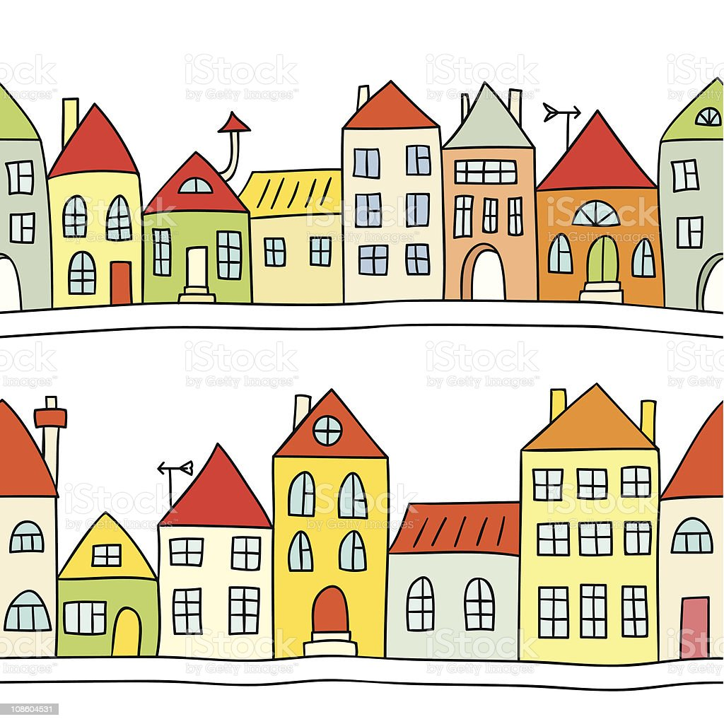 Seamless vector background with houses royalty-free stock vector art