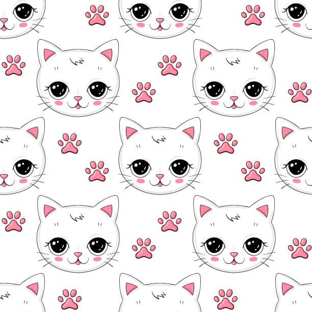 illustrazioni stock, clip art, cartoni animati e icone di tendenza di seamless vector background with little cute cat - love word