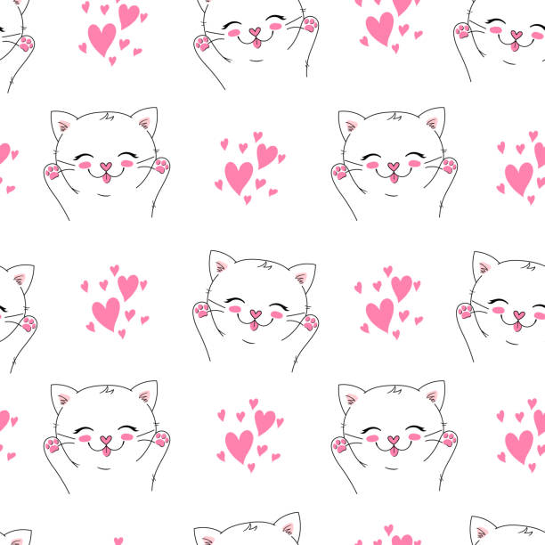 illustrazioni stock, clip art, cartoni animati e icone di tendenza di seamless vector background with little happy cat, adorable cute kitten. can be used as a children clothes fabric print design, wrapping paper, surface pattern - love word