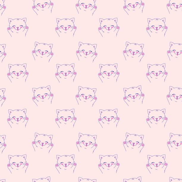 illustrazioni stock, clip art, cartoni animati e icone di tendenza di seamless vector background with little happy cat, adorable cute kitten. - love word
