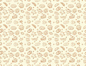 Seamless vector bakery & pastry pattern in brown color isolated over light color