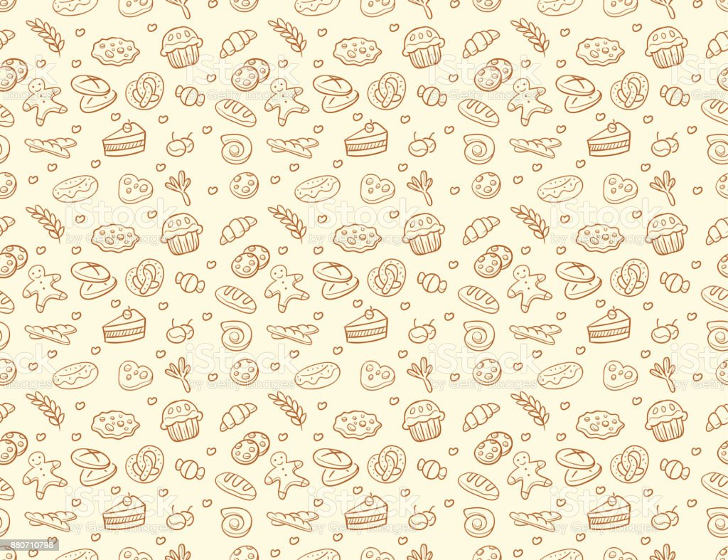 Seamless vector bakery & pastry pattern vector art illustration