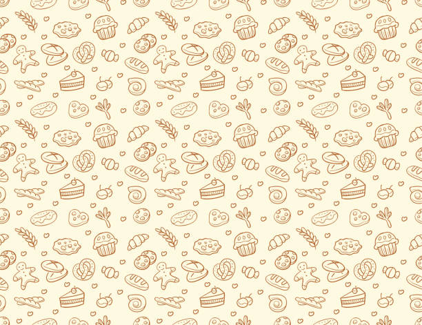 Seamless vector bakery & pastry pattern Seamless vector bakery & pastry pattern in brown color isolated over light color candy patterns stock illustrations