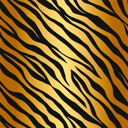 Seamless vector black and golden tiger stripes pattern. Stylish wild tiger fur. Animal print background for fabric, textile, design, wrapping, cover.