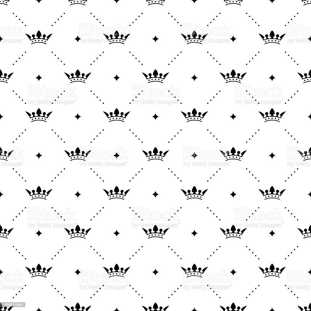Ilustración de Patrón Sin Costuras Vector Negro Con Corona Con Cama ...
