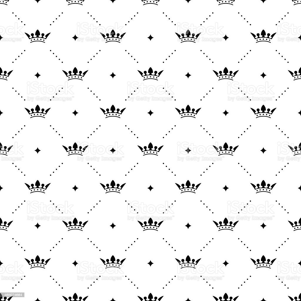 Seamless vector black pattern with king crowns vector art illustration