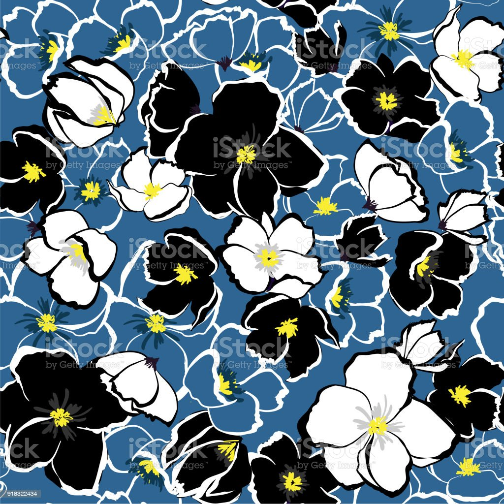 Seamless Vector Blooming Florals Background With Monotone Blue Hand ...