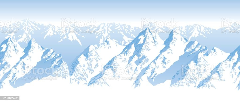 seamless vector blue beautiful mountains panorama pattern vector art illustration