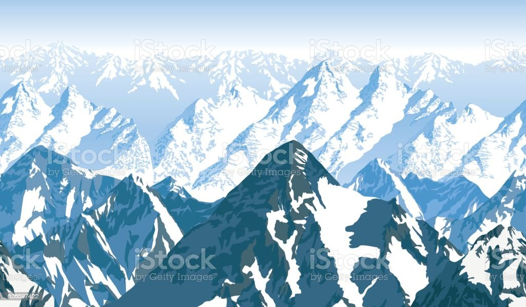 seamless vector blue beautiful mountains panorama pattern vector art illustration