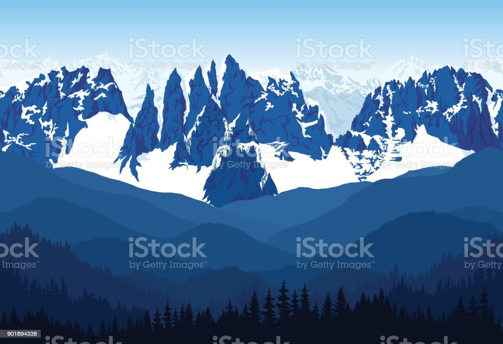 seamless vector blue beautiful mountains with forest panorama pattern vector art illustration