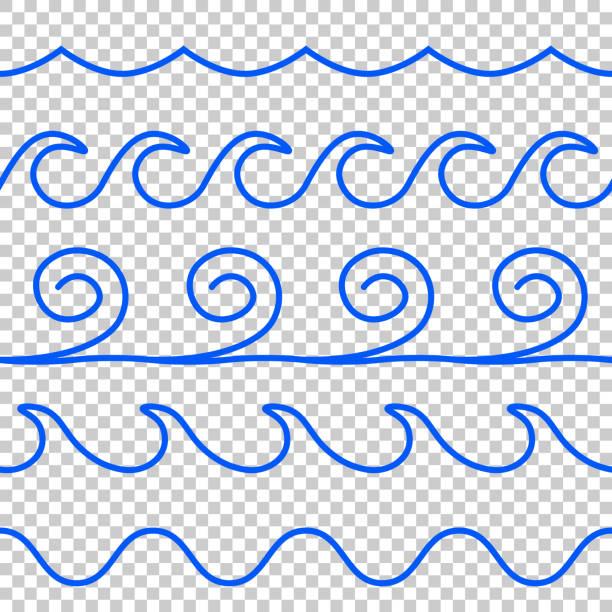 ilustrações de stock, clip art, desenhos animados e ícones de seamless vector blue wave line pattern - algarve