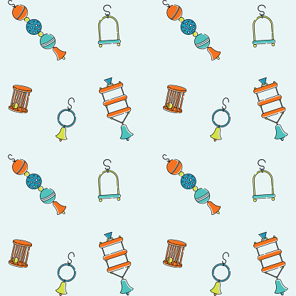 Seamless vector bright pattern for pet store bird toys