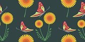 Seamless vector bright pattern with orange dandelions and red butterflies on the dark background.