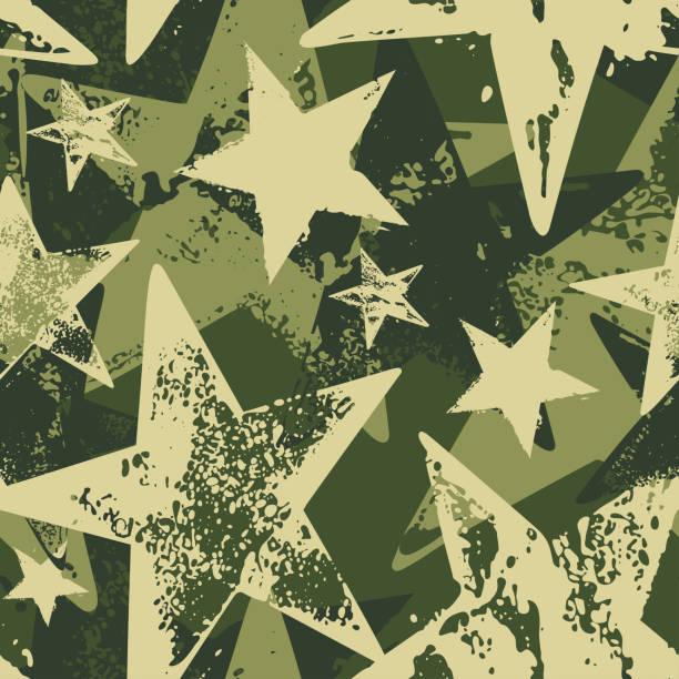 Seamless vector brushstroke camouflage pattern with green stars isolated on dark green background. vector art illustration