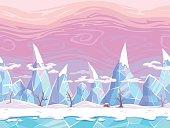 Seamless vector cartoon fantasy landscape