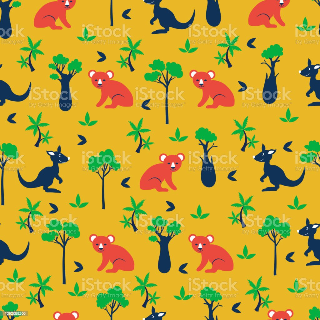Seamless Vector Cartoon Pattern Australian Wild Animals Koala Bear Kangaroo Cypress Bottle Tree Palm Exotic Background Decorative Colorful Texture For Design Wallpaper Cute Orange Textile Stock Illustration Download Image Now Istock