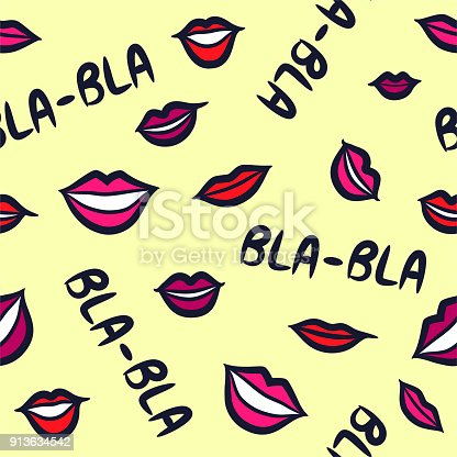 Seamless Vector Chatterbox Babbler Gossip Blabla Pattern Pink Red Vector Id S A on Smiling Lips Clip Art
