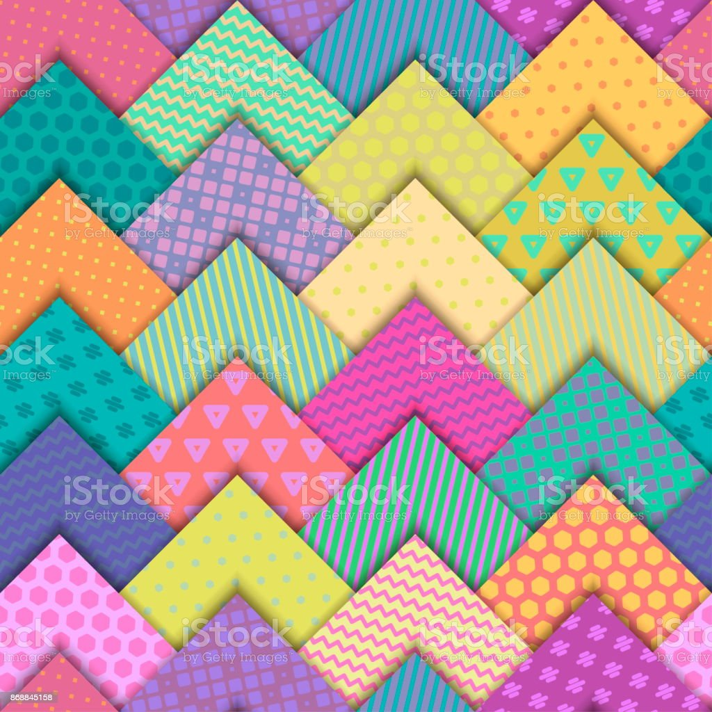 Seamless vector colorful bright pattern. Paper squares of different colors with ornaments lying on each other. Holiday packages, wallpaper, background. vector art illustration