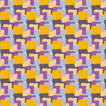 Seamless vector colorful pattern with abstract square pillow. The design for decorations, backgrounds, wrapping paper