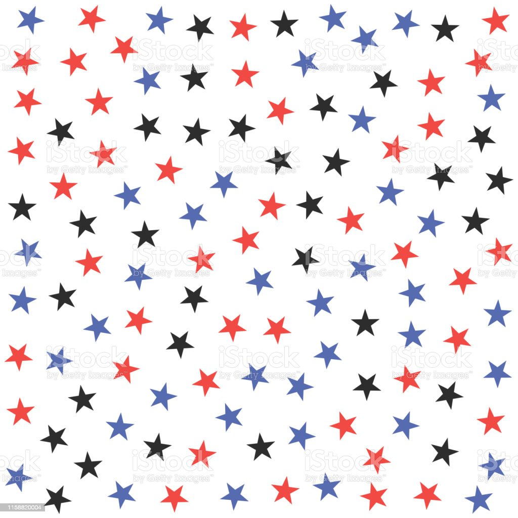 Seamless vector cosmic pattern with chaotical multicolor star shape...