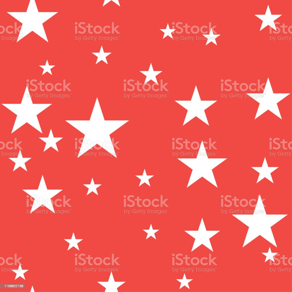 Seamless vector cosmic red pattern with chaotical white star shape...