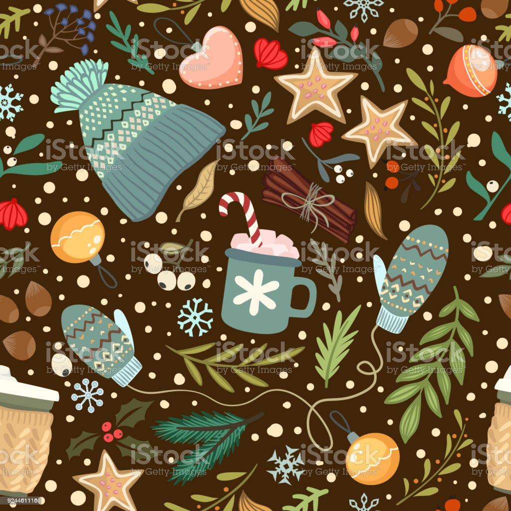 Seamless vector cozy winter pattern vector art illustration