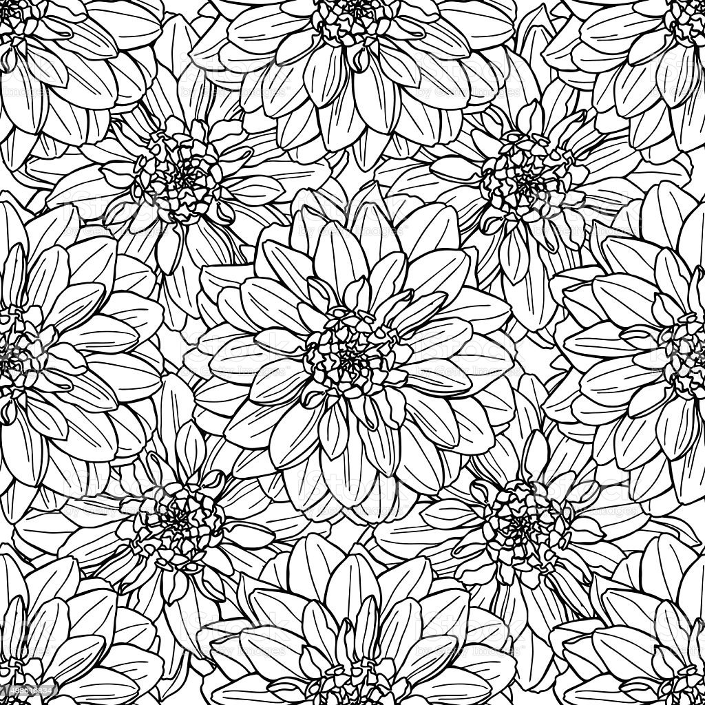 Line Drawing Flower Vector : Seamless vector dahlia flower pattern line art background