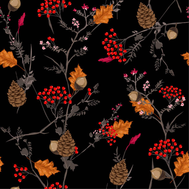 Seamless vector Dark autumn pattern with red and orange berries,pine cone,nuts,flowers  and leaves. Fall colorful floral background.pattern for fashion,fabric and all prints vector art illustration