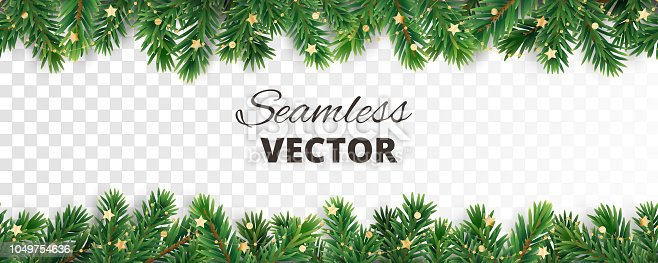 istock Seamless vector decoration isolated on white. Christmas tree frame, garland with ornaments 1049754636