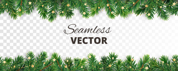 Seamless vector decoration isolated on white. Christmas tree frame, garland with ornaments Seamless vector decoration isolated on white. Christmas illustration, winter holiday background. Gold New Year ornament, beads. Christmas tree frame, garland. Border for party banner, poster, header christmas ornament stock illustrations