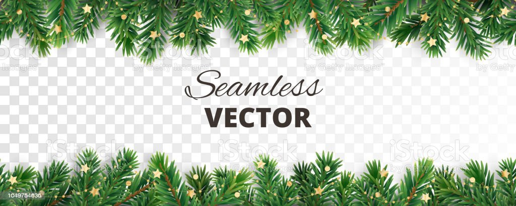 Seamless vector decoration isolated on white. Christmas tree frame, garland with ornaments vector art illustration