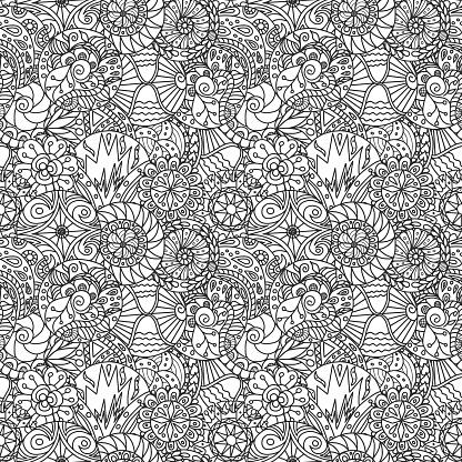 Seamless Vector Decorative Doodle Circles