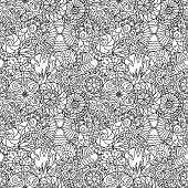 Decorative doodle circles. Vector seamless pattern.