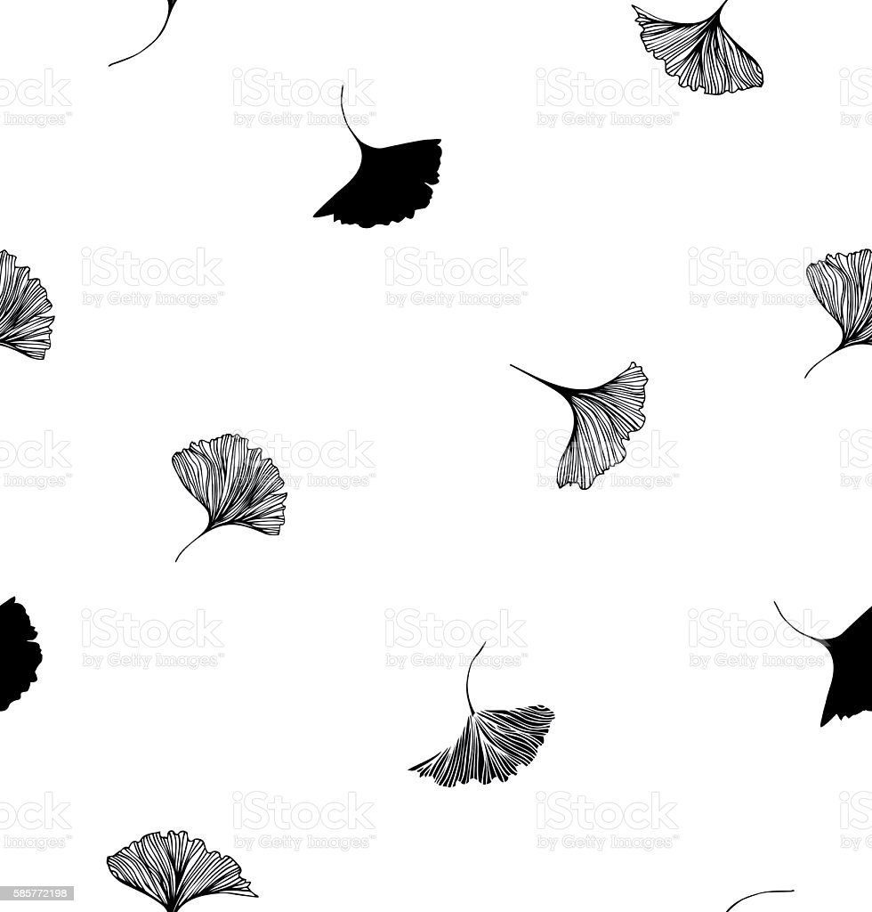 Seamless vector decorative drawn pattern with Ginkgo leaves vector art illustration